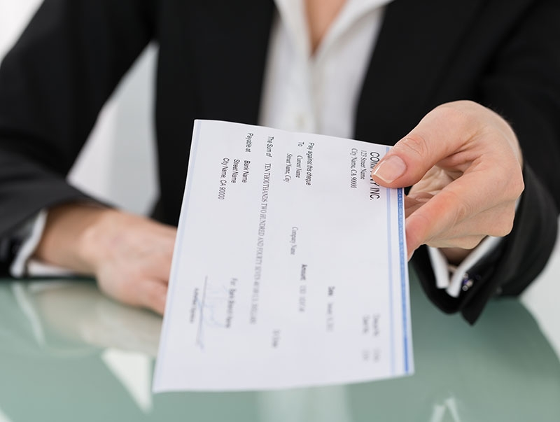 paycheck in envelope